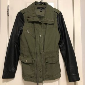 Military Jacket with Faux Leather Sleeves